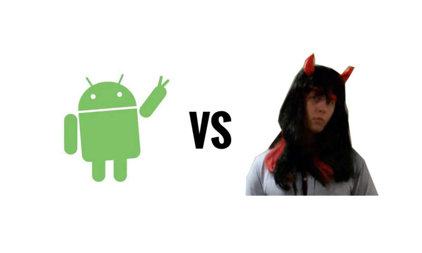Android vs Mikael. Yes. It's me in the picture. It was Halloween.