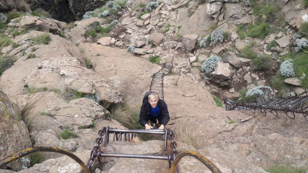 The first set of chain ladders to go down. Amphitheatre hike, Drakensberg, South Africa.