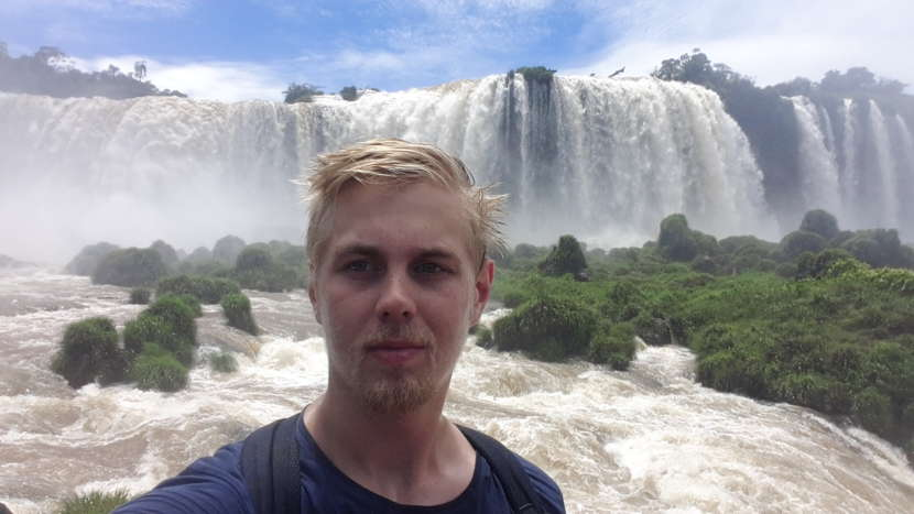 Selfie, Iguazu falls, Brazil. At this stage falling water and wind made conditions very wet.