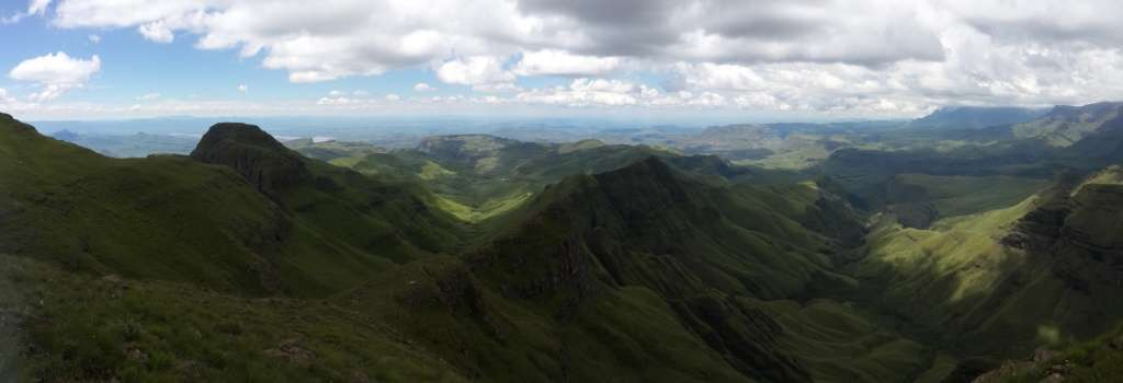A panorama from the highest place. The starting point is the small white dot at the end of the big ridge that goes to up right from the center of the picture.